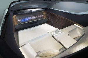 ...the Vision 100 is self driving and the inside of the vehicle just consists of a giant television and a large sofa.