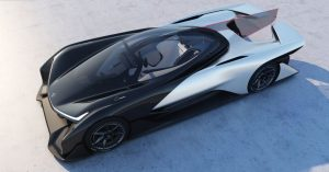 This is the 2016 Faraday Future which seems a fusion of the Batmobile and an Indy racing car.