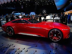 This is the Maybach concept car from Mercedes. It has winged doors and is designed to look like a yacht...
